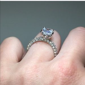 Jewelry - 14k white gold plated oval stone lab diamond ring